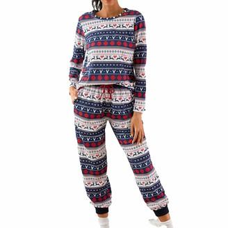 jieGorge Women Suits & Sets Plus Size Women Christmas Allover Snowflake Elk Printed Pocket Pants Pajamas Set