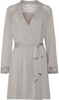 Eberjey Noor Lace-trimmed Stretch-modal Jersey Robe - Stone