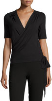 Three Dots Madeline Jersey Wrap Top, Black