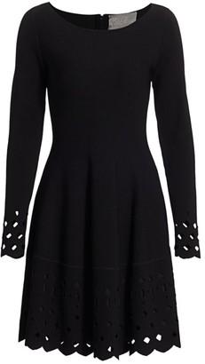 Lela Rose Lasercut Boatneck Knit Dress