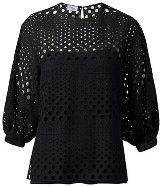 Akris Punto Eyelet Embroidered Puff-Sleeve Top