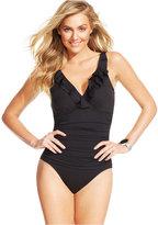 Lauren Ralph Lauren Tummy-Control Underwire Ruffled One-Piece Swimsuit