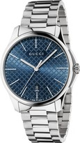 Gucci G-Timeless Slim men's blue dial stainless steel bracelet watch