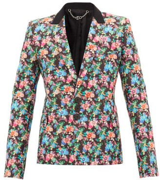 Paco Rabanne Floral-print Single-breasted Cotton-blend Blazer - Mens - Multi