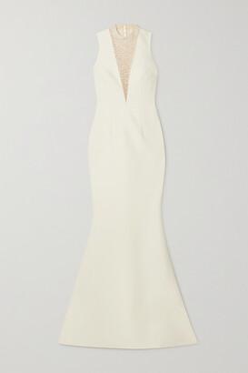 Safiyaa Embellished Tulle-paneled Crepe Gown - Ivory