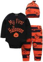 Tomfeel Baby Unisex Boys Girls First Halloween Bodysuits Pumpkin Pants Hat Outfits 3pcs Set (3-6M, )
