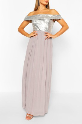 boohoo Bridesmaid Occasion Sequin Bardot Maxi Dress