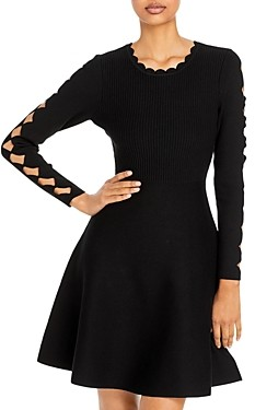 Milly Scalloped Fit And Flare Dress