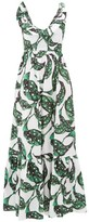 Borgo de Nor Liya Leaf-print Tie-back Ruffled Cotton Dress - Womens - Green White