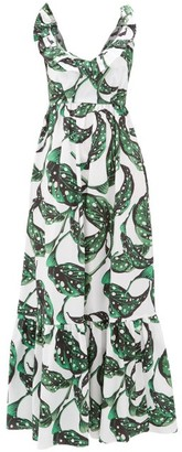 Borgo de Nor Liya Leaf-print Tie-back Ruffled Cotton Dress - Green White