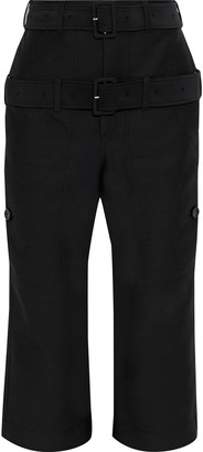 Lanvin Cropped Belted Wool And Silk-blend Straight-leg Pants