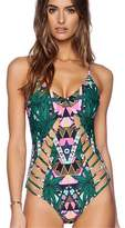 Harleya Women Summer Sexy Tropical High Waist Hollow Out One Piece Bodysuit Swimsuit