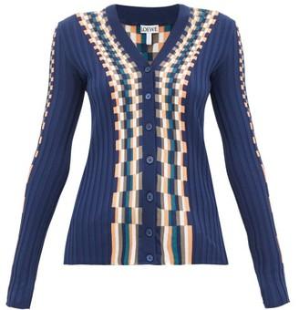 Loewe Checked Cotton Cardigan - Blue Multi