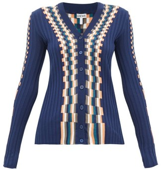Loewe Checked Cotton Cardigan - Womens - Blue Multi