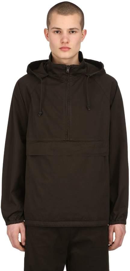Yeezy Hooded Half Zip Washed Canvas Sweatshirt