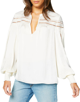 Ramy Brook Maisy Ladder-Stitched Peasant Top