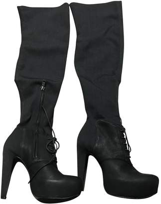 Elizabeth and James Black Leather Boots