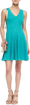Milly Rib Stretch Sleeveless Fit-and-Flare Dress
