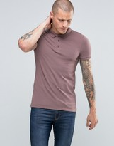 Asos Extreme Muscle Polo Shirt In Purple