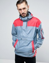 Columbia Challenger Overhead Jacket Lightweight In 2 Tone Blue/red