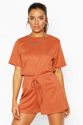 boohoo Petite Rib Short Loungewear Set