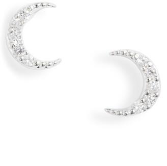 Estella Bartlett Pave Crescent Moon Stud Earrings