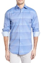 Thomas Dean Men's Classic Fit Graduated Stripe Sport Shirt