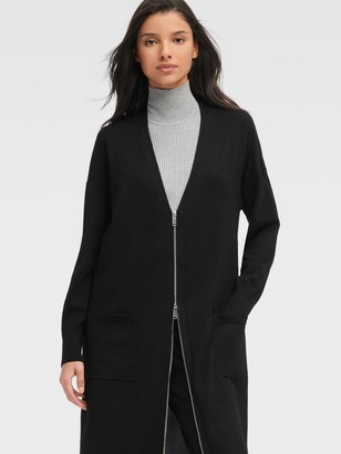 DKNY Women's Mixed Media Long Cardigan With Zip Front - Black - Size XX-Small
