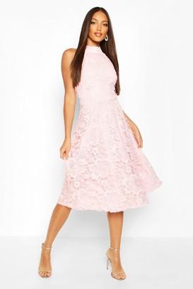 boohoo High Neck Lace Midi Skater Dress