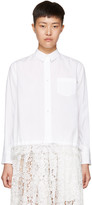 Sacai White Drawstring & Lace Shirt