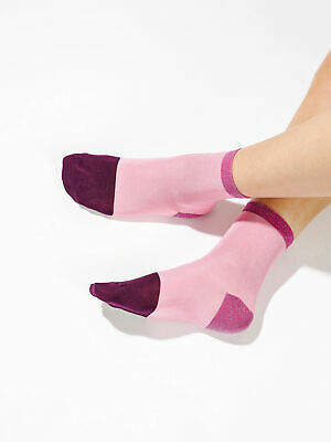 Hysteria By Happy Socks New Womens Liza Ankle Socks In Pink Socks Festival