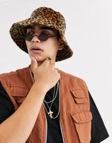 Asos Design DESIGN festival wide brim bucket hat in leopard faux ponyskin