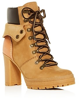 See by Chloe Women's Cargo Hiker Round Toe Lace Up Leather Boots