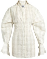 Jacquemus Checked silk and linen-blend mini shirtdress