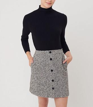 LOFT Textured Button Pocket Skirt