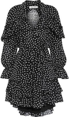Diane von Furstenberg Martina Ruffled Printed Chiffon Mini Wrap Dress