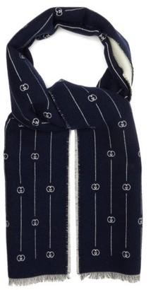 Gucci Gg-stripe Jacquard Wool-blend Scarf - Mens - Navy White