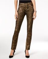 INC International Concepts Metallic Curvy-Fit Skinny Jeans, Only at Macy's