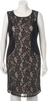 Wrapper Juniors' Plus Size Lace Overlay Bodycon Dress