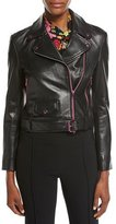 Moschino Leather Moto Jacket w/ Contrast Zippers