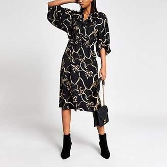 River Island Black print long sleeve shirt dress