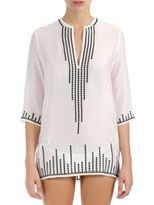 Marie France Van Damme Embroidered Silk Short Tunic