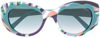 Emilio Pucci Curved Frames Printed Sunglasses