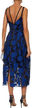 Roland Mouret Kimpton Cotton And Silk-blend Fil Coupe Midi Dress