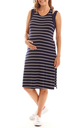 Everly Grey Alex Stripe Two-Piece Maternity/Nursing Dress
