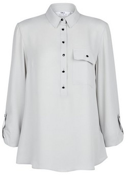 Dorothy Perkins Womens **Tall Silver Roll Sleeve Shirt, Silver