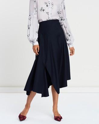 Apartment Clothing Button Up Pinstripe Midi Skirt