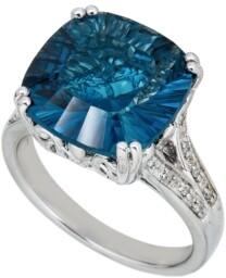 Macy's London Blue Topaz (9 ct. t.w.) & Diamond (1/10 ct. t.w.) Ring in Sterling Silver