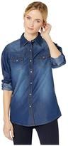 Wrangler Western Solid Shirt (Medium Denim) Women's Blouse