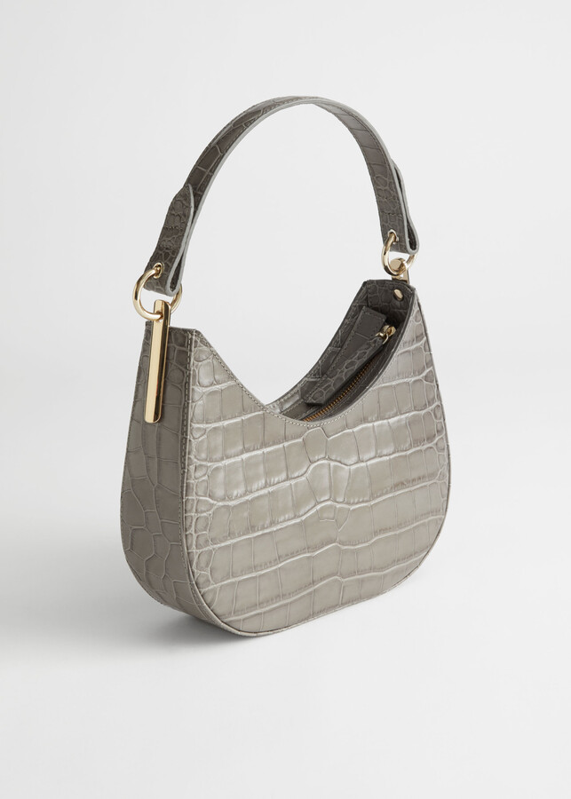 Thumbnail for your product : And other stories Croc Embossed Leather Shoulder Bag